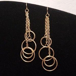 E487 Minimalist Gold Ring Drop Earrings